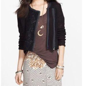 FREE PEOPLE Femme Fatale Moto Knit Jacket S